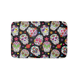 Colorful Sugar Skulls On Black Bathroom Mat
