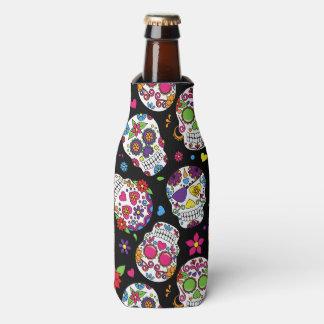 Colorful Sugar Skulls On Black Bottle Cooler