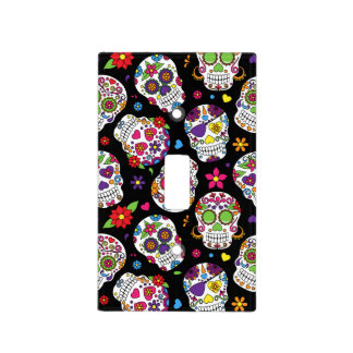 Colorful Sugar Skulls On Black Light Switch Cover
