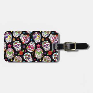 Colorful Sugar Skulls On Black Luggage Tag