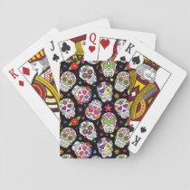 Colorful Sugar Skulls On Black Playing Cards