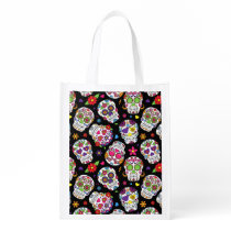 Colorful Sugar Skulls On Black Reusable Grocery Bag