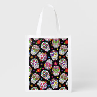 Colorful Sugar Skulls On Black Reusable Grocery Bag