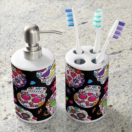 Colorful Sugar Skulls On Black Soap Dispenser & Toothbrush Holder