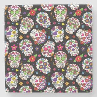 Colorful Sugar Skulls On Black Stone Coaster