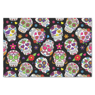 Colorful Sugar Skulls On Black Tissue Paper