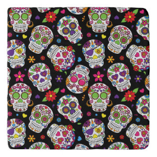 Colorful Sugar Skulls On Black Trivet