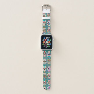 Colorful Sugar Skulls Pattern on Teal Apple Watch Band
