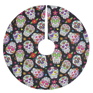 Colorful Sugar Skulls Patterned Brushed Polyester Tree Skirt
