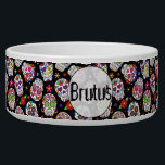 "Colorful Sugar Skulls Personalized Bowl<br><div class=""desc"">Colorful Sugar Skulls Personalized Large Pet Bowl.  Easy To Change The Pet&#39;s Name To Your Own.  Click Customize To Change The Font Type,  Font Color,  Font Size,  Or To Add/Delete/Change The Text Or Design Elements.</div>"