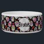 "Colorful Sugar Skulls Personalized Bowl<br><div class=""desc"">Colorful Sugar Skulls Personalized Large Pet Bowl.  Easy To Change The Pet's Name To Your Own.  Click Customize To Change The Font Type,  Font Color,  Font Size,  Or To Add/Delete/Change The Text Or Design Elements.</div>"