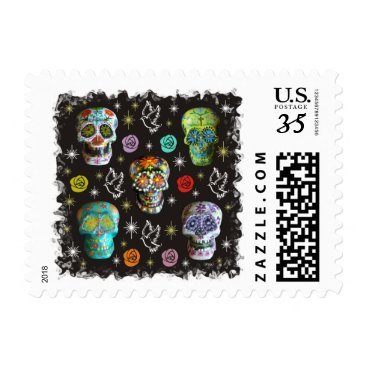 Halloween Themed Colorful Sugar Skulls Postage