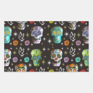 Colorful Sugar Skulls Rectangular Sticker