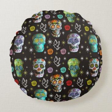 Halloween Themed Colorful Sugar Skulls Round Pillow