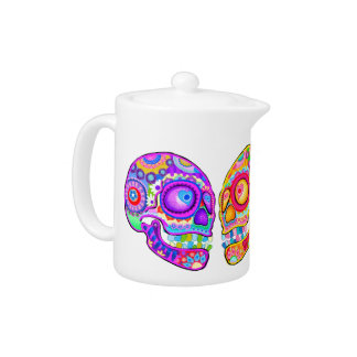 Colorful Sugar Skulls Teapot - Day of the Dead Art