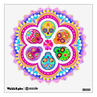 Colorful Sugar Skulls Wall Decal - Groovy Art!