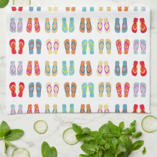 Colorful Summer Beach Flip Flops Dish Towel