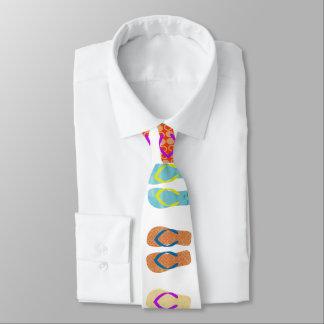 Colorful  Summer Beach Flip Flops Pattern Necktie