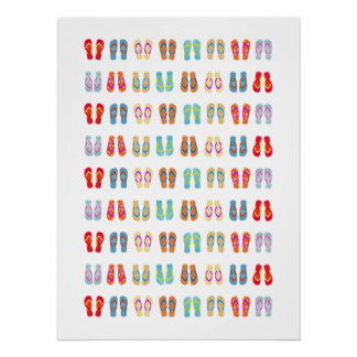 Colorful Summer Beach Flip Flops Poster