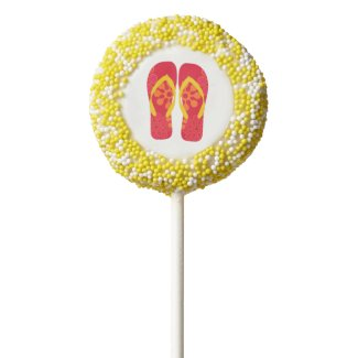 Colorful Summer Beach Party Flip Flop Cookies Chocolate Covered Oreo Pop