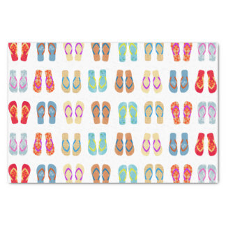 """Colorful Summer Beach Party Flip Flops Gift Tissue 10"""" X 15"""" Tissue Paper"""