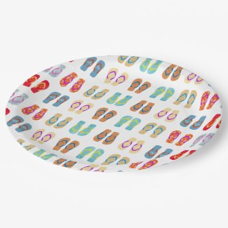 Colorful Summer Beach Party Flip Flops Plates 9 Inch Paper Plate