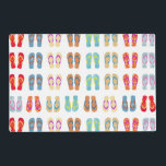 """Colorful Summer Beach Theme Flip Flops Placemat<br><div class=""""desc"""">These colorful placemats feature a pattern of summer flip flops.  For more summer home decor visit the rest of this shop.</div>"""
