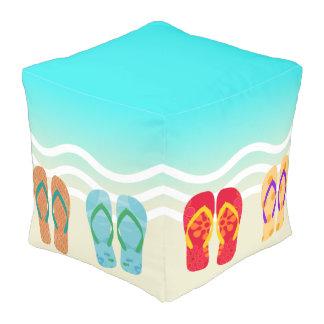 Colorful Summer Beach Waves Flip Flops Ottoman Cube Pouf