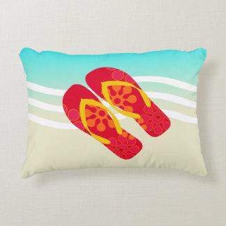 Colorful Summer Beach Waves Flip Flops Pillow