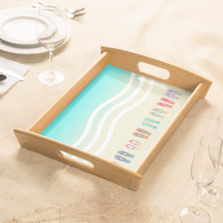 Colorful Summer Beach Waves Flip Flops Serving Tray