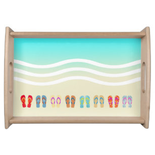 c8027abfe Colorful Summer Beach Waves Flip Flops Serving Tray