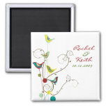 Colorful Summer Bird and Swirls Save-the-Date Refrigerator Magnets