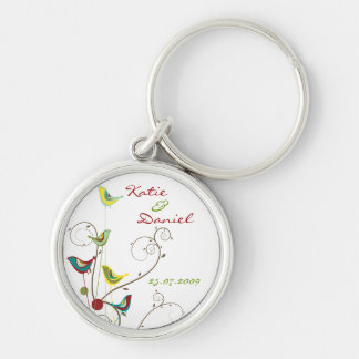 Colorful Summer Bird and Swirls Save-the-Date Silver-Colored Round Keychain