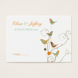 Colorful Summer Bird & Swirls *02 Guest Place Card