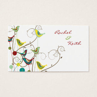 Colorful Summer Bird & Swirls Place Card /Gift Tag