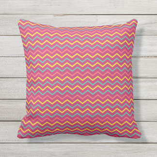 Colorful Summer Chevrons Hot Pink Throw Pillow