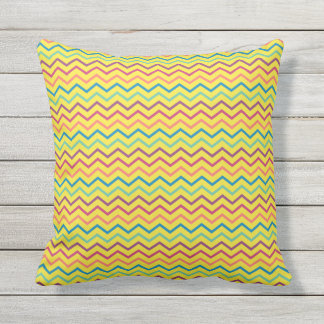 Colorful Summer Chevrons Throw Pillow