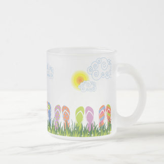 Colorful Summer Flip Flops Fun In The Sun Garden Frosted Glass Coffee Mug