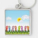 Colorful Summer Flip Flops Fun In The Sun Garden Keychain