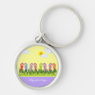 Colorful Summer Flip Flops Fun In The Sun Garden Keychain