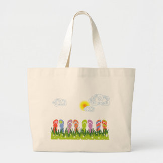 Colorful Summer Flip Flops Fun In The Sun Garden Large Tote Bag