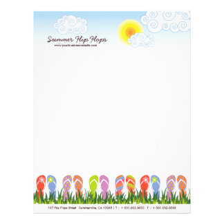 Colorful Summer Flip Flops Fun In The Sun Garden Letterhead