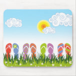 Colorful Summer Flip Flops Fun In The Sun Garden Mouse Pad