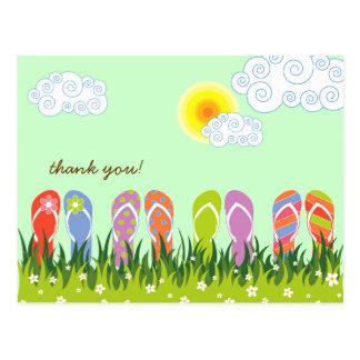 Colorful Summer Flip Flops Fun In The Sun Garden Postcard