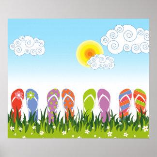 Colorful Summer Flip Flops Fun In The Sun Garden Poster