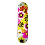 Colorful Summer Floral Collage Custom Skate Board