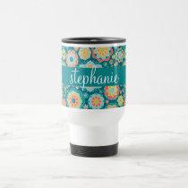 Colorful Summer Floral Pattern Custom Name Travel Mug
