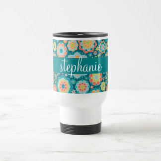 Colorful Summer Floral Pattern Custom Name Travel Mug
