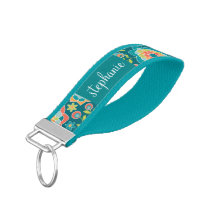 Colorful Summer Floral Pattern Custom Name Wrist Keychain