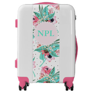 Colorful Summer Flowers Monogram Carry On Suitcase